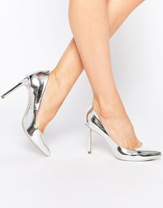 Ted Baker Laorel Silver Leather Pumps