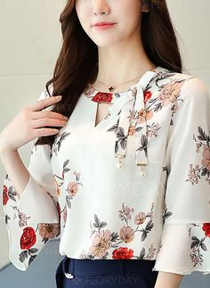 Blouses - $24.99 - Floral Casual Chiffon V-Neckline 3/4 Sleeves Blouses (1645262853)