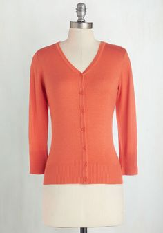 Charter School Cardigan in Cantaloupe From The Plus Size Fashion Community At www.VintageAndCurvy.com