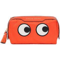ANYA HINDMARCH Eyes Nylon & Leather Make-Up Bag (1.985 NOK) ❤ liked on Polyvore featuring bags, handbags, shoulder bags, orange, red shoulder bag, orange purse, nylon purse, orange leather purse and nylon handbags