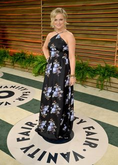 Amy Poehler was a vision at the Vanity Fair Oscar party thanks in large part to her Peter Som dress and custom Aldo shoes.