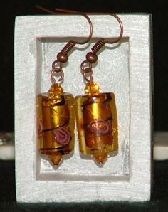 Antiqued copper dangle earrings with topaz Swarovski crsytals and glasss lampwork beads by ScottishPrincess, £12.00
