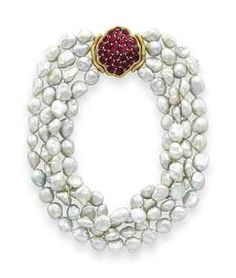 A CULTURED BAROQUE PEARL AND RUBY NECKLACE, BY MICHELE DELLA VALLE