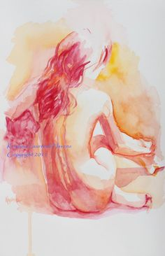 Large Print - Art Reproduction of  Watercolor Painting of Female Nude in Red, Back View