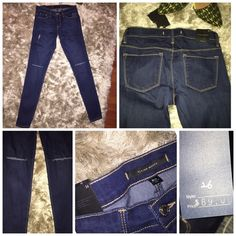 Flying Monkey slit knee jeans Mid to high waisted skinny jeans. Slit knees.  Great with your favorite crop top.  Never worn/perfect condition.  Size 26 Flying Monkey Jeans Skinny