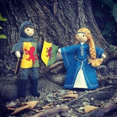 Knight and maiden inspired by Sir William Marshal & Isabel de Clare Each doll is lovingly handcrafted in the USA. For ages 3 and up. Spool Crafts, Felt Crafts, Medieval, Felt Doll House, Worry Dolls, Puppet Crafts, Clothespin Dolls, Flower Fairies, Waldorf Dolls