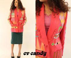 80's Fucshia Blazer SM / 1980's Silk Jacket / by CrushVintageCandy, $41.00