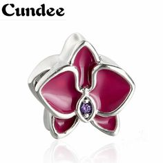 buy 2017 summer pink purple enamel orchid charms fit pandora bracelets 925 sterling silver flowers beads #pink #orchid