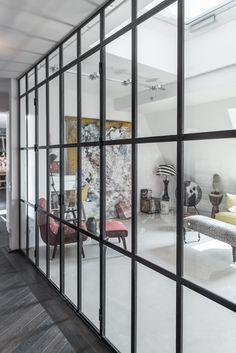 Stahl Glas Raumteiler. Hergestellt in Berlin bei Fa. Stahlwerk