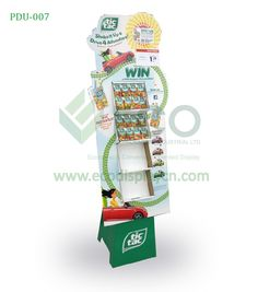 Corrugated floor standing display units for Tic Tac candy, found at ecodisplaycn.com. Contact: sales03@ecodisplaycn.com