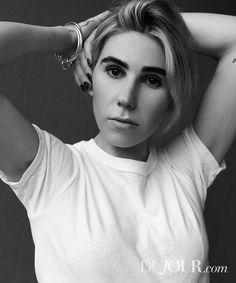 "HBO ""Girls"" Zosia Mamet in Theory's Johnna tee and Spinelli Kilcollin's Sabine linked bracelet."