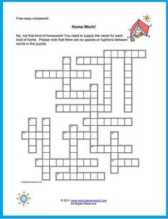 This free easy crossword is all about different types of homes in which people live. How long will it take you to complete it? We have a large collection of printable crossword puzzles at www.word-game-world.com. 4th Grade Spelling Words, Spelling Practice, Spelling Games For Kids, Word Games, Printable Crossword Puzzles, Puzzles For Kids, Usa Today, House Warming, Homes