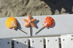 Colorful seashell and starfish bobby pins-beach bobby pins mermaid hair clips…