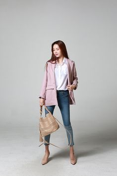 Buy Linen Basic Jacket at Korean Fashion Store. Find the latest Korean clothing styles popular in South Korea here at our store. We are constantly adding new styles daily so come take a look! Denim Fashion, Love Fashion, Korean Fashion, Girl Fashion, Fashion Outfits, Womens Fashion, Korean Casual Outfits, Cool Outfits, Korean Streetwear