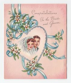 Other Collectible Vintage Greeting Cards Vintage Wedding Cards, Vintage Wedding Invitations, Vintage Greeting Cards, Vintage Postcards, Vintage Images, Vintage Holiday, Vintage Gifts, Vintage Paper, Wedding Anniversary Cards