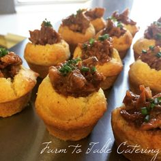 Pulled pork in mini cornbread muffins.  Yummy appetizer! | Farm to Table Catering | www.farm2tabkecatering.com
