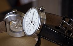 Xetum watch, Tyndall off-white dial seen against the exhibition back of the Stinson.