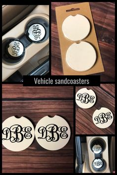 Car Coasters Car Coasters,Crafts Sandcoasters for vehicle cup holders! 1 order comes with two coasters! diameter Made to absorb sweat from drinks Fits most vehicles universally Monogram Coasters, Diy Coasters, Car Monogram, Vinyl Projects, Diy Craft Projects, Dog Car Accessories, Coaster Crafts, Sandstone Coasters, Party Cups
