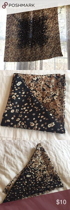 """Black floral silk scarf Thick Silk scarf: black back ground with brown, white, and gray flower.  36.5"""" X 35""""  so almost square.   Perfect for wearing as a head wrap scarf, neck scarf, hanging on a wall as a decoration, it is truly so beautiful! Accessories Scarves & Wraps"""
