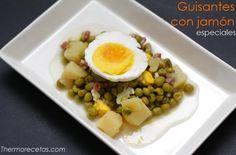 Receta de guisantes con jamón, huevo y patatas cocinados con Thermomis de una forma muy sencilla gracias a esta receta paso a paso.