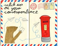 I send out 2-12 postcards/letters EVERY DAY! I might be caught up. Cute envelope idea...