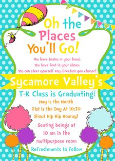 Dr. Seuss Inspired Oh the Places You'll Go 5x7 by SJPInvitations