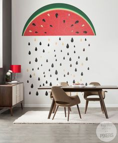 Watermelon Rain Drops - an idea for a funny wall sticker to the #Kitchen - from PIXERS