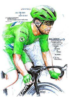 Mark Cavendish, Deceuninck Quick Step, vollendet die Arbeit seines Teams und gewinnt die 4. , 6. & 10. Etappe der 108. Tour de France 2021 (100x70cm) Mark Cavendish, Bicycle Art, Cycling Art, Color Pencil Art, Colored Pencils, Champion, Joker, Drawings, Spin