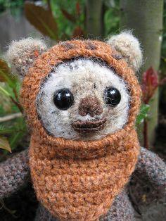 Knitted Ewok!! cute!  #starwars  #knitting  #crotchet  www.junkfoodclothing.com
