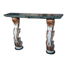 A parcel paint and gilt decorated marble top console by Maison Jansen. The marble base supporting a paint decorated column sitting under a Malachite green marble top. This console table is NOT free standing and must be mounted to your wall. Green Marble, Marble Top, French Console Table, Hollywood Regency, Malachite, Table Furniture, Wall Mount, Entryway Tables, Bronze