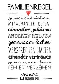 I love my Familie The Words, Family Rules, Family Wall, We Are Family, Kids And Parenting, Slogan, Hand Lettering, Quotations, Lyrics