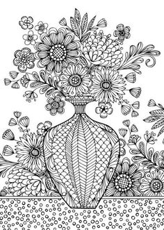 Floral Vase : Spectrum Noir Colorista Marker Pad - In Full Bloom - Adult Colouring Books - Colouring - Art & Colouring Free Adult Coloring, Adult Coloring Book Pages, Flower Coloring Pages, Free Coloring Pages, Printable Coloring Pages, Coloring Books, Coloring Sheets, Spectrum Noir, Colorful Pictures