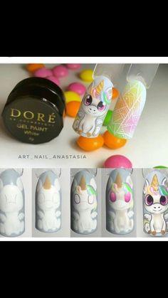 Pretty Nail Art, Cute Nail Art, Cute Acrylic Nails, Cute Nails, Unicorn Nails Designs, Unicorn Nail Art, Nail Art Blog, Nail Art Hacks, Disney Inspired Nails