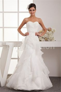 White A Line Sweetheart Zipper Back Floor Length Satin Organza Wedding Dress