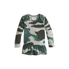 J.Crew baby long-sleeve ruffle shirt in camo.