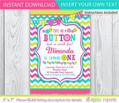 button invitation / cute as a button birthday / by ApplePaperie