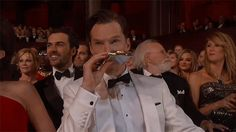 Pin for Later: 18 Times You Felt Embarrassed For Stars at the Oscars It was so long, Benedict Cumberbatch must've run out of booze.