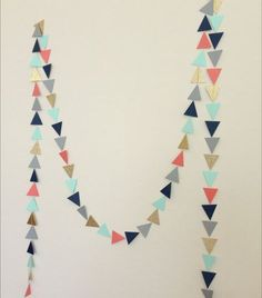 Navy Mint Grey Coral Gold Geometric Triangle by LaCremeBoutique