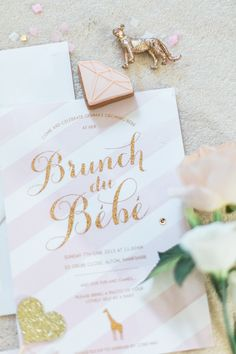 Fun and glittery invitations: http://www.stylemepretty.com/living/2015/07/02/french-sparkle-inspired-baby-shower/ | Photography: Barefoot Brunettes - www.thebarefootbrunettes.com/