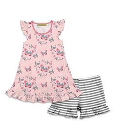 6e7ff096aada Millie Loves Lily | Coral Butterfly Angel-Sleeve Top & Gray Stripe Shorts -  Toddler & Girls