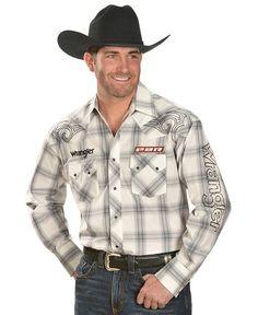 Wrangler PBR Logo Plaid Long Sleeve Shirt