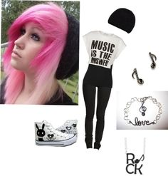 """Untitled #386"" by blackveileddirectioner ❤ liked on Polyvore...i just like the hair :)"