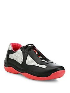Prada America's Cup Leather & Mesh Sneakers