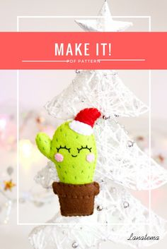 Cactus PDF pattern, felt ornament, digital file PDF pattern only! This is not a finished item!This PDF will show you how to realize this funny cactus with santa hat ornament!Have fun realizing it for your Christmas tree or for your friends!This PDF contains easy step by step instructions, lot of photos and the pattern ready to be printed and cut. Handmade Christmas, Christmas Crafts, Christmas Tree, Christmas Ornaments, Christmas Ideas, Felt Crafts Kids, Personalised Calendar, Cactus, Easy Ornaments