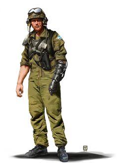 Imperial Guard Tank Commander by Miguel Iglesias. Warhammer Imperial Guard, 40k Imperial Guard, Warhammer 40k Rpg, Star Wars Rpg, Sci Fi Characters, Shadowrun, Space Marine, Sci Fi Art, Dieselpunk