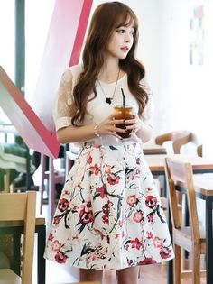 a38554a6261 Buy Mauve Collection White Beautiful Flower Printed Dress online