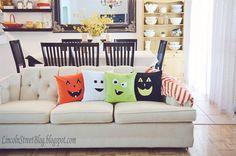 eighteen25: Flannel Halloween Face Pillows