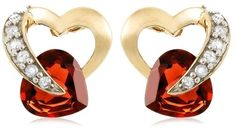 10k Yellow Gold Diamond and Garnet Heart-Shaped Earrings (.08 cttw, I-J Color, I2-I3 Clarity) (Jewelry)