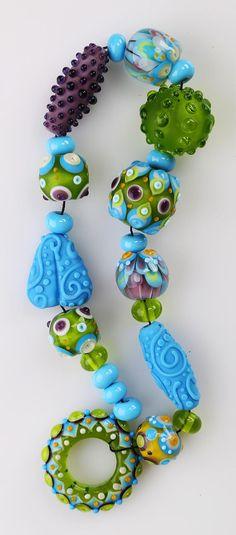 Glass Bead Set Green Baby Blue Purple Lampwork Beads.