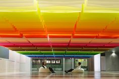 Colorful Floating Rainbow Created with 840 Sheets of Paper: Created by  French architect and designer Emmanuelle Moureaux